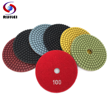 RIJILEI 7PCS/Set 4Inch / 100mm Diamond Polishing Pad Wet Flexible Polishing Pads For Stone Marble Diamond Abrasive Tools HC12 rijilei 7pcs set 5inch white diamond polishing pad 125mm wet polishing pads for stone concrete floor polishing tool hc15