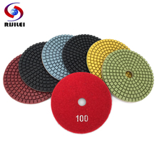 цена на RIJILEI 7PCS/Set 4inch / 100mm Diamond Polishing Pad Wet Flexible polishing pads for Stone Marble Diamond Abrasive Tools HC12
