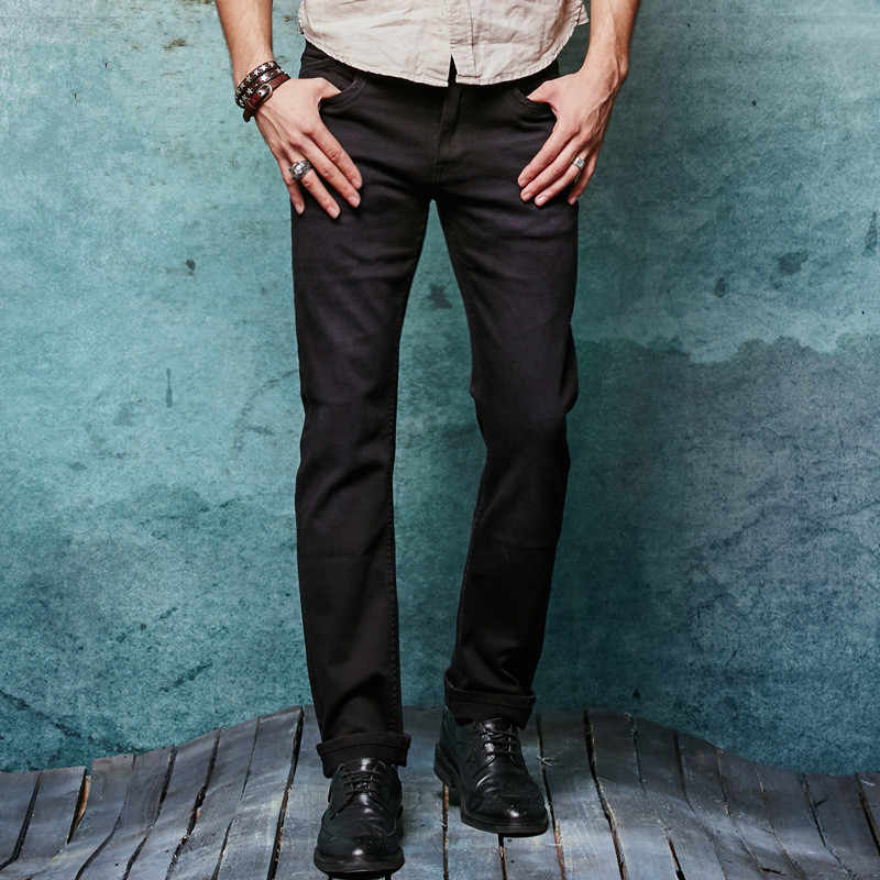Echt Jeans Männer Designer Baumwolle Homme Balmai Herren Hosen Berühmte Marke Kleidung Solide Mid Winter Herbst Voller Länge Schwarz Jean