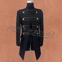 New Men Double-breasted England Style Long Slim Fit Blazer jackets Men's large suit court long trench coat male Singer Costume