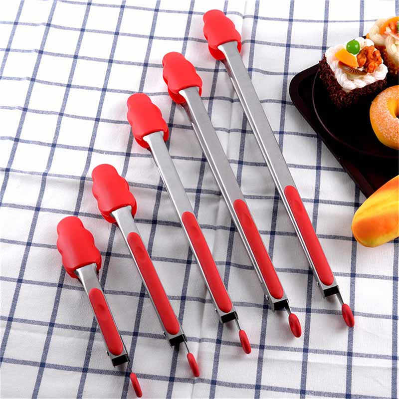 7/9/12/14/16 inch silicone kitchen cooking tools food tongs for spaghetti salad toast barbecue bbq meat long flat tongs tool