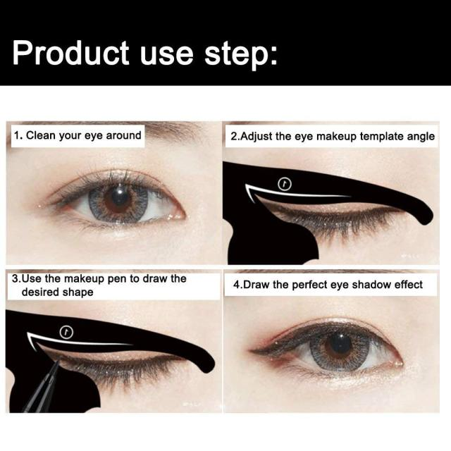 Beauty Eyebrow mold Stencils 2Pcs Women Cat Line Pro Eye Makeup Tool Eyeliner Stencils Template Shaper Model for women girls 5
