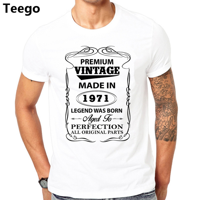 Vintage 1971 Aged To Perfection Born In T Shirts Men Dad Father Birthday Gift Short