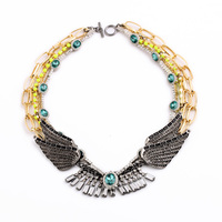 Woolen Wrapped Multi Layers Beads Chains Angel Wing Necklace Gold Color Made For Mother Daughter