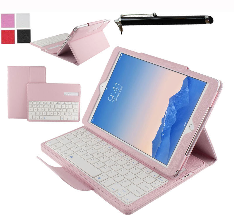 Detachable Wireless Bluetooth ABS Keyboard PU Leather Stand Portfolio Case Cover For Apple iPad Pro 12.9 inch Tablet+Pen new wireless bluetooth keyboard stand pu leather cover case for apple ipad mini 1 2 3 7 9 inch tablet