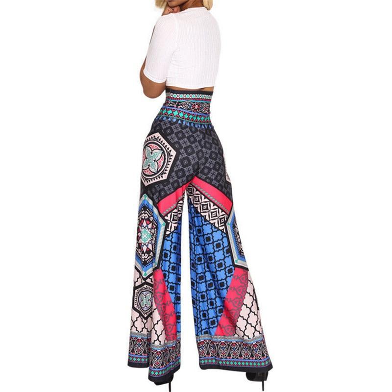 6f0693db18b89 Women s Boho Wide Leg High Waist Trousers Ladies Ethnic Style Printed Flare  Palazzo Pants Leisure Loose Cropped Wide Leg Pants