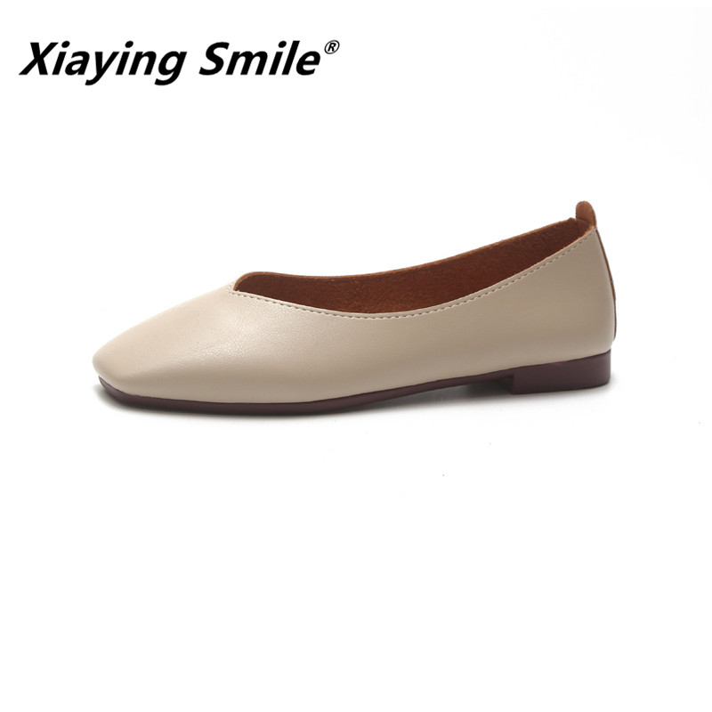Xiaying Smile Women Boat Shoes Spring/Summer Office Fashion Casual Loafers Slip On Flat Soled Shallow Rubber Ladies Flats Shoes xiaying smile woman pumps british shoes women thin heels style spring autumn fashion office lady slip on shallow women shoes