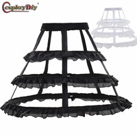 CosplayDiy Medieval Vintage Victorian Crinoline Ladies Gothic Lolita Fishbone Violence Petticoat Underskirt Party Ball Gown