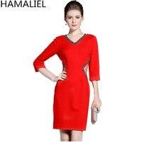 HAMALIEL Plus Größe Frauen Formale OL Kleid 2018 Geschäfts Herbst Rot Perlen Drei Viertel Sleeve Bodycon Bleistift S-3XL