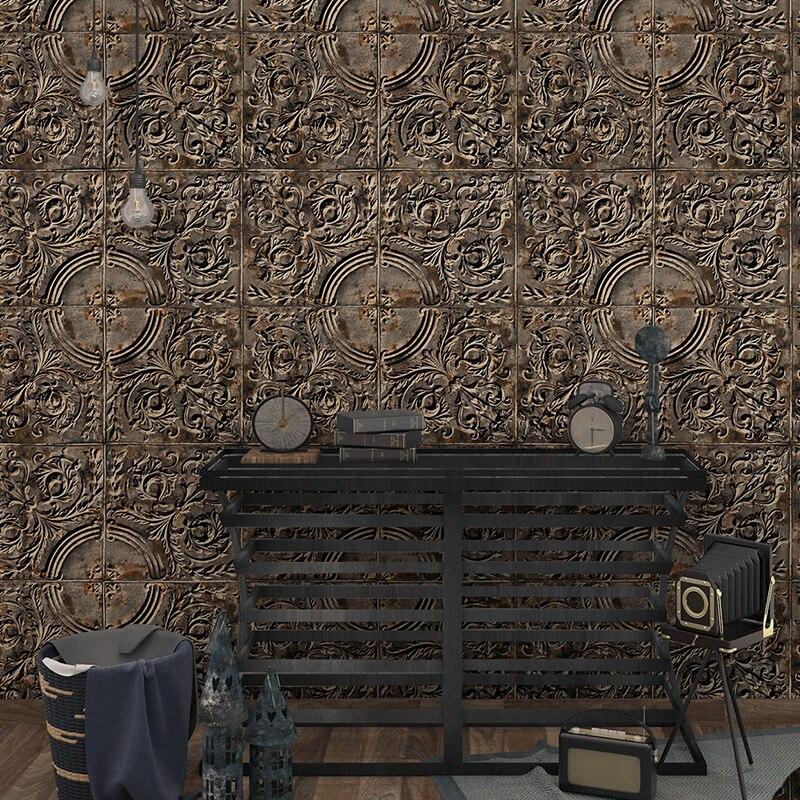 3D européen stéréo métal en relief fer Arts industrie graphique vert papier peint Restaurant fond papier peint