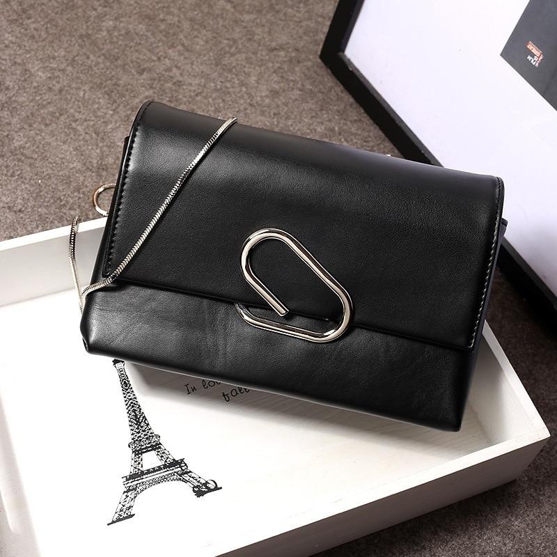 2016 Fashion Women Leather Handbag Metal Chain Big Clip Bag Shoulder Bag Cross body Small Flap