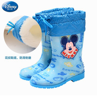 2018 newDisney children's anti skid boots Mickey Mimi boys and girls children cotton rain boots baby warm water shoes size 26 37