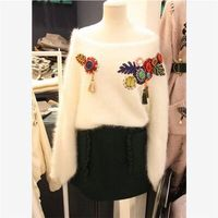 Women S Winter And Spring Sweet Cute Slash Neck Sweater Colorful Dots Appliques Brief Solid Tassel