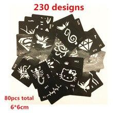 80pcs 230 Design 6x6cm Henna Tattoos Stencils For Painting Airbrush Tattoo Stencils For Tattoo Temporary Glitter Tattoo Stencil