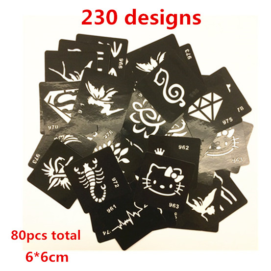 80pcs 230 Design 6 6cm Henna Tattoos Stencils for Painting Airbrush Tattoo Stencils for Tattoo Temporary