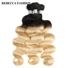 Rebecca Malaysian Body Wave Human Hair Bundles Deal 1b/613 Honey Blonde Remy Ombre Hair Extensions 10 To 30 Inch 3 Bundles(China)