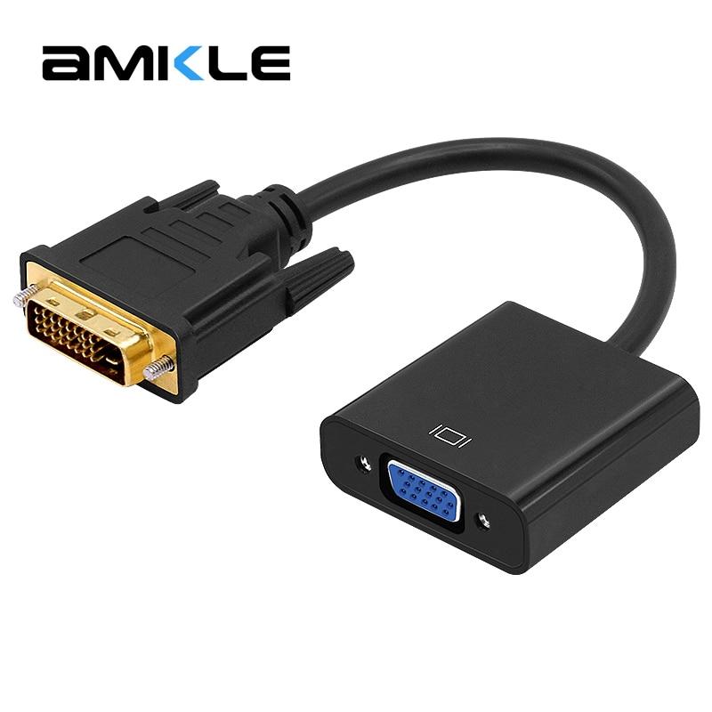 Amkle DVI to VGA кабель адаптера 1080 P DVI-D VGA кабель 24 + 1 25 Pin DVI мужчина к 15 Pin VGA Женский видео конвертер для ПК Дисплей ...
