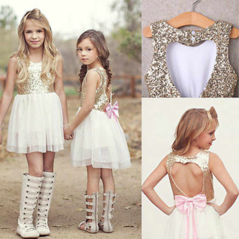 Sequins Princess Kids Baby Clothes Flower Girl Dress Bowknot Backless Party  Gown Dresses e79d33ad0a52