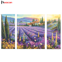 Looking New 5d Diy Diamond Embroidery Lavender Scenery Pictures Of Rhinestones Cross Stitch 3pcs Sets Decor