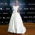 Blanco Elegante Vestido de Fiesta Del Arco Del O-cuello Piso-Longitud abiye gece elbisesi Cap Manga vestido de Bola Stain Vestidos de La Celebridad Para El Partido