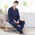 Autumn men Dark blue pajama set cotton long sleeve men's pajamas plus size thick tracksuit suitxxxl pijamas hombre