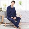 Outono homens azul escuro pajama set algodão dos homens de manga comprida pijamas plus size grosso treino suitxxxl pijamas hombre