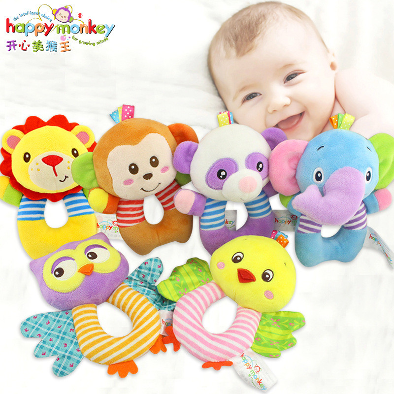 HAPPY MONKEY baby toys O-type bells early education puzzle plush toys baby hand bell cartoon animal lion owl elephant toys ...
