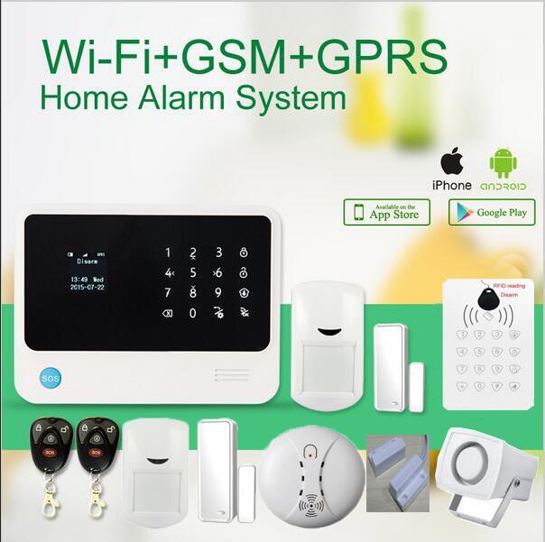 433mhz G90B GSM WIFI Alarm System IOS/Android APP control wireless door sensors /RFID keypad arm disarm/smoke sensor