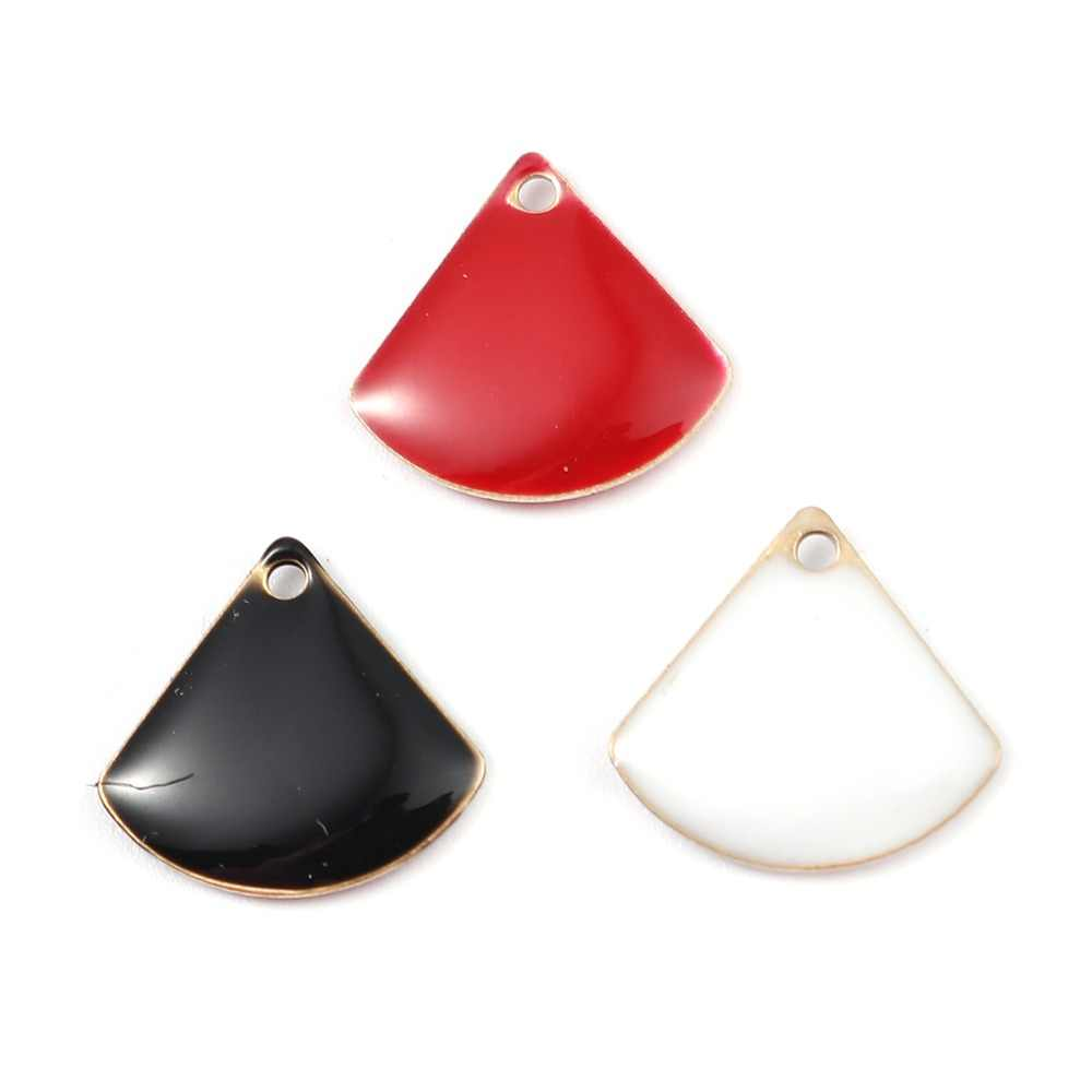 DoreenBeads Fashion Copper Enamelled Sequins Pendant Fan-shaped Brass Color Black Red White Jewelry DIY 13mm x 12mm, 10 PCs