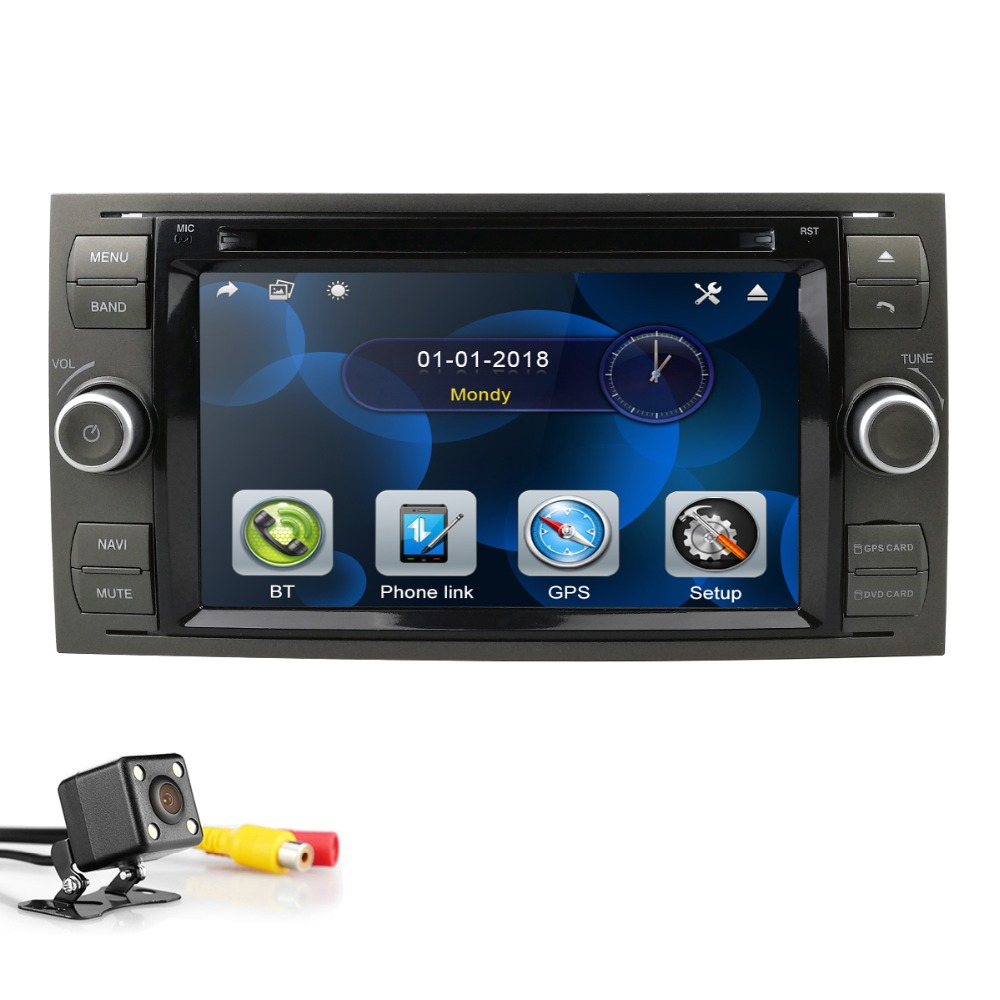 2din car autoradio 7 inch dvd monitor for Ford focus/Fiesta/Kuga/C Max/Connect/Fusion/Galaxy/Mondeo/S Max/Transit swc rds bt cam