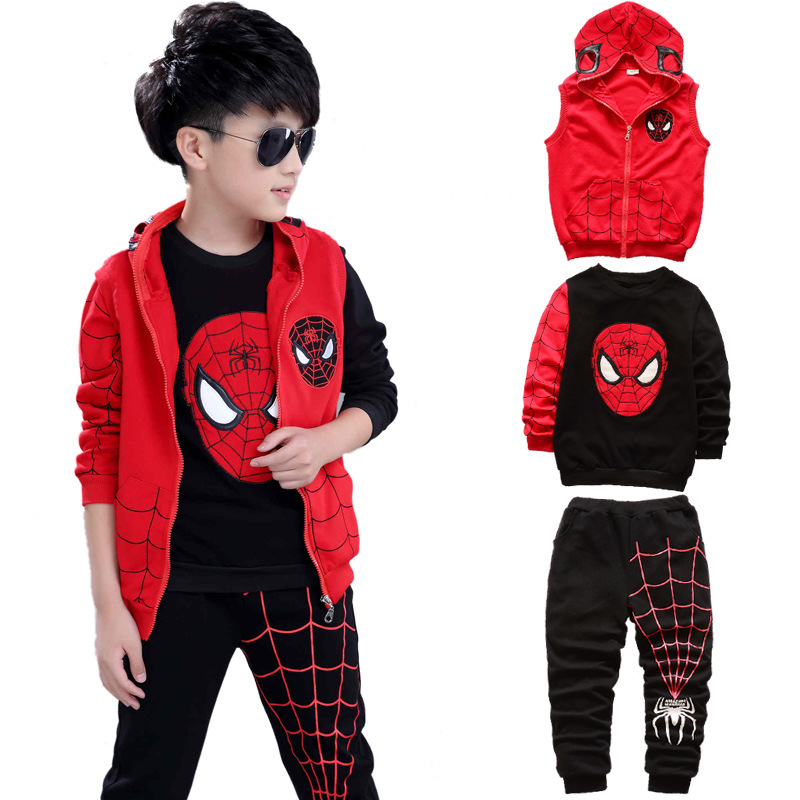 Autumn Spider Man Boys Clothes Sets Kids Children Spiderman Cosplay Sport Suit Boys Clothing Set T shirt+ Jacket+Pants 3pcs H308 spider man style surfing clothes for 3 10y little boys kids one piece beachwear swimwear high quality children clothing