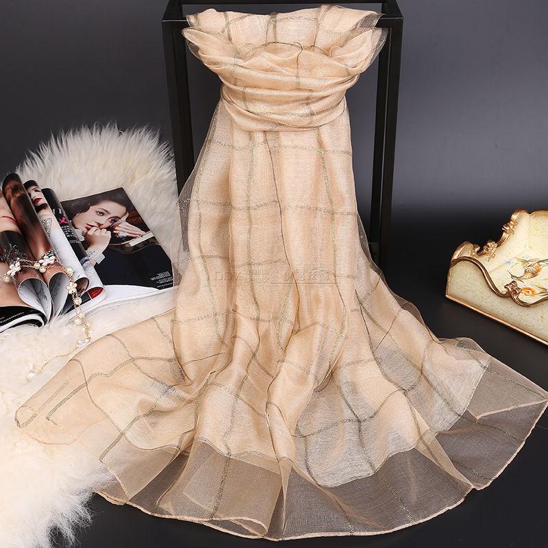 Large Soft Fashion Plaid Pure Silk Women ScarvesFular Mujer Seda Pura font b tartan b font