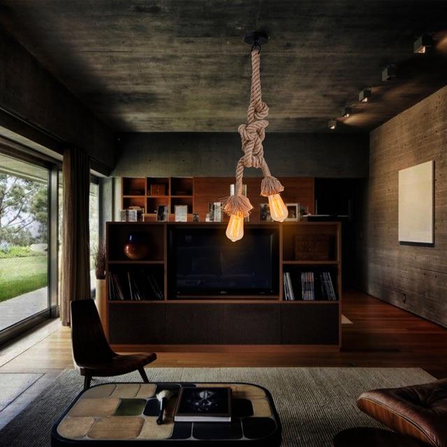 Retro Vintage Seil Pendelleuchte Lampe Loft Kreative Persönlichkeit  Industrielle Lampe Edison Birne Für Wohnzimmer Dekoration