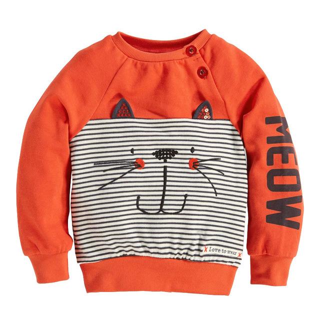 2016 nuevo invierno ropa de orange algodón de la historieta impresa manga larga de cuello redondo de cobertura suéter de niños y niñas