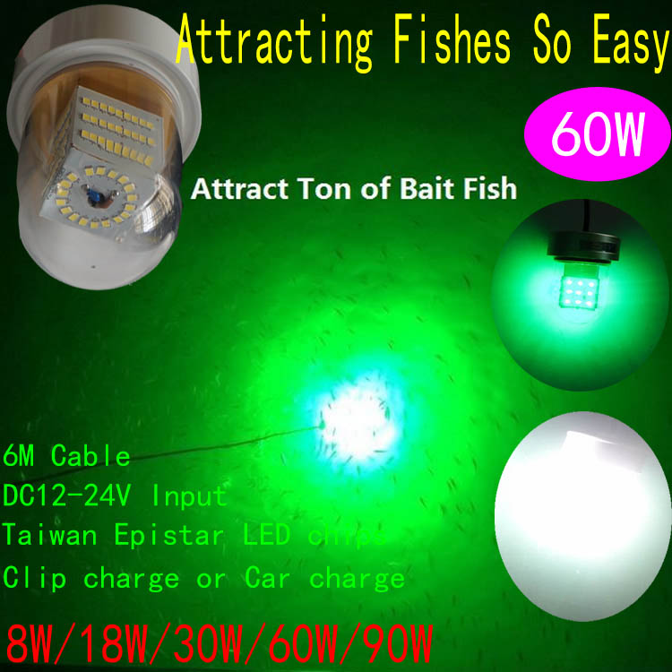 все цены на DC12V-24V 60W White Green Blue LED Deep Drop Underwater Fishing Light Squid Fishing lighting онлайн