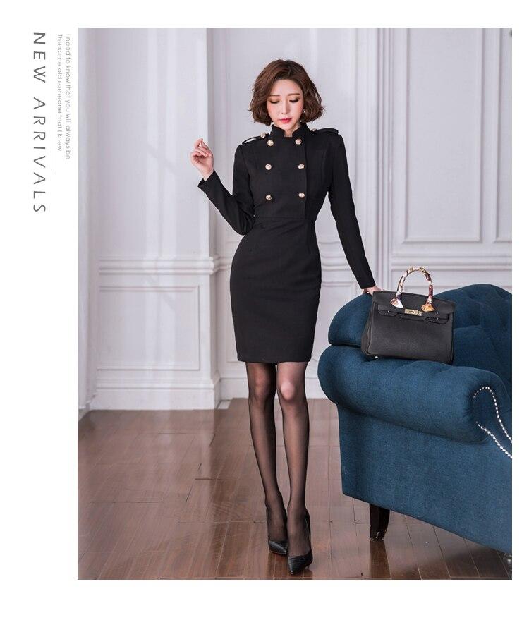 Boutonnage Robe Mode Stand Corée D'affaires 2018 Noir Femmes Manches Formelle Ol Double Printemps Jsxdhk Longues À Col Crayon wfWUqXPR
