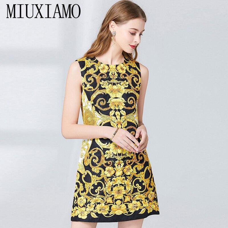 7804019c6b4a00 Hohe Sommer Frühlingamp  Luxuriöse Party Qualität Blume Frauen Miuximao  Print Kleid Eleghant Casual 2019 Applikationen Vestido CBdoxe