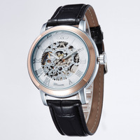 Bianco Hollow Dial Cinturino In Pelle orologi Moda Anziano di Vetro Gemma Uomini \ 's Orologi Meccanici Manuali Per Il Mio Ragazzo Regalo LL
