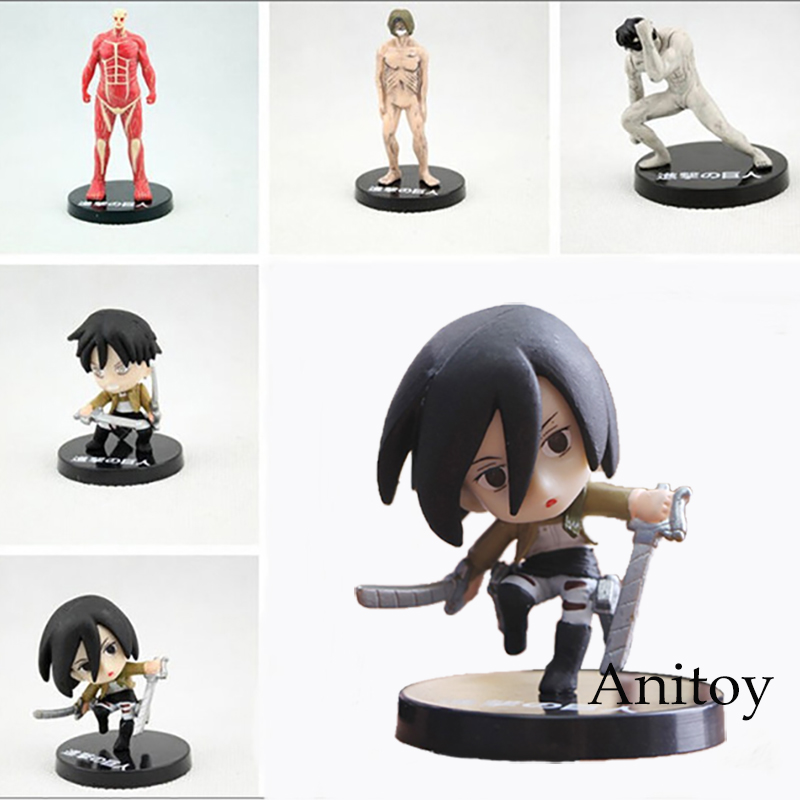 5pcs/lot Attack on Titan PVC Action Figure Toys Collection Model AT008 attack on titan volume 15