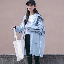 [soonyour] 2016 Autumn Korean light army green  Even Hat  Long Sleeve two Pockets Zipper Loose Coat women fashion HA02022S
