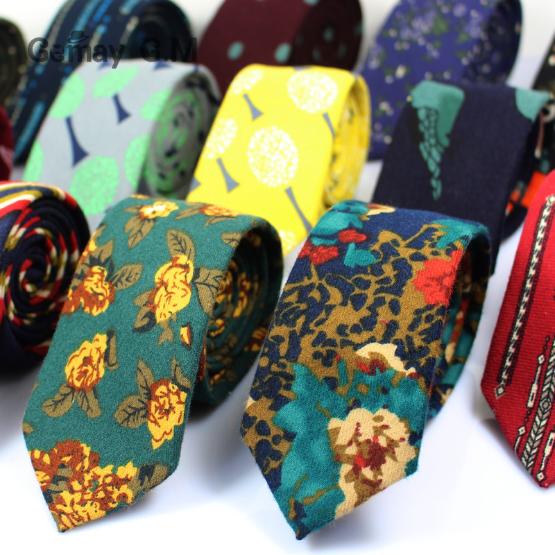 High Quality New Print Cotton Ties For Men Fashion Casual Mans Necktie For Wedding 6cm Width Adult Floral Slim Groom Tie