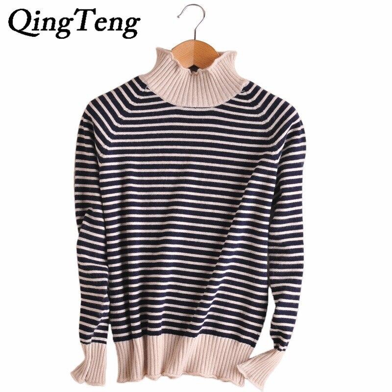 QingTeng 2017 New Women 100% Cashmere High Neck <font><b>Stripes</b></font> Pullover Turtleneck <font><b>Sweater</b></font> Winter Swaters <font><b>Ribbed</b></font> Cuff