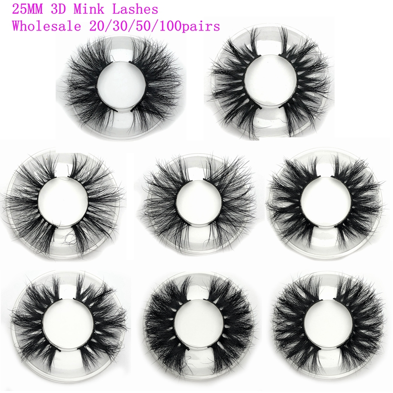 Mikiwi 25mm Mink Eyelashes 20/30/50 Wholesale 3D Mink Lashes Round Case Custom Packaging Label Makeup Dramatic Long Mink Lashes