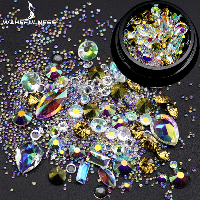 WAKEFULNESS Acrylic Rhinestones For Nails AB Crystals Mix Caviar Nail Art Mini Beads Sharp Bottom Gems 3D Nail Art Decorations 10g box clear nail caviar micro beads 3d glitter mini beans tiny tips decorations diy nail art rhinestones manicure accessories