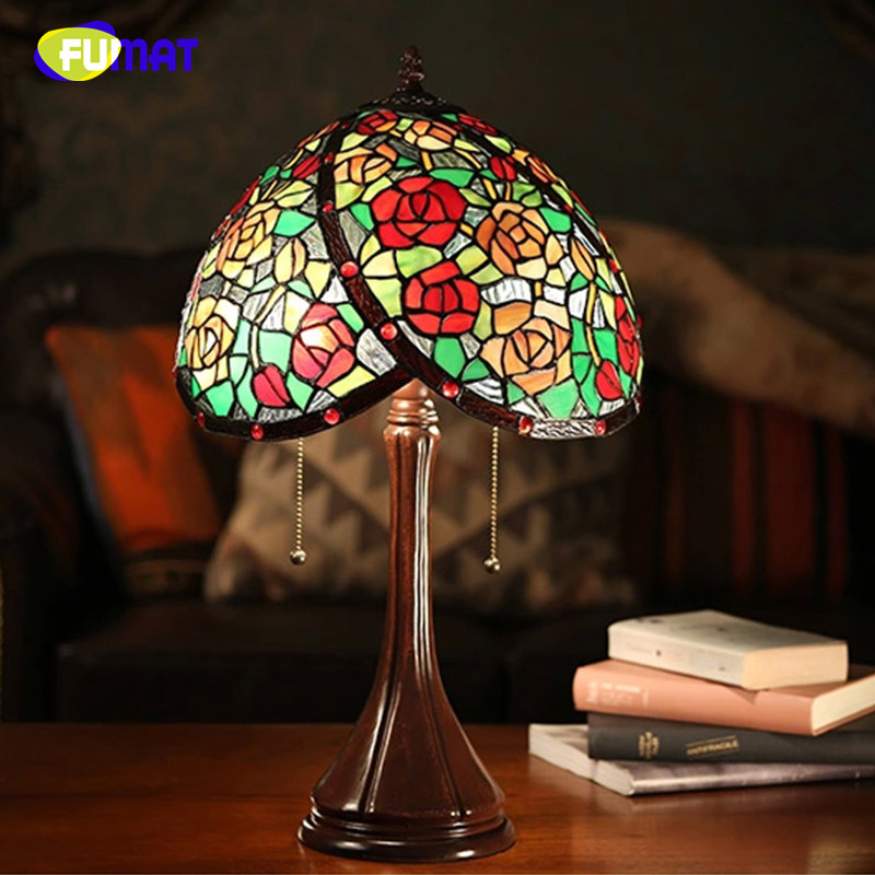 Fumat Stained Glass Table Lamp Baroque European Style Bedside Lamp Shade Vintage Retro Living Room Bedside Light Fixtures Lamps Led Lamps Led Table Lamps