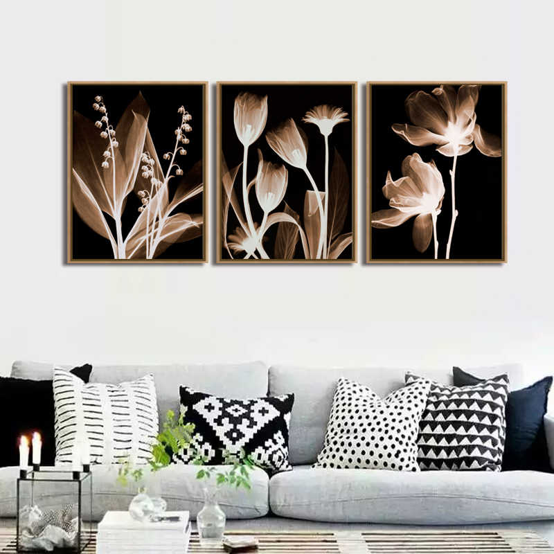 TOP SALE 3 Pcs/Set Artist  Modern bedroom flower  Wall Art Canvas Poster and Print Canvas Painting Decorative (No Framed)