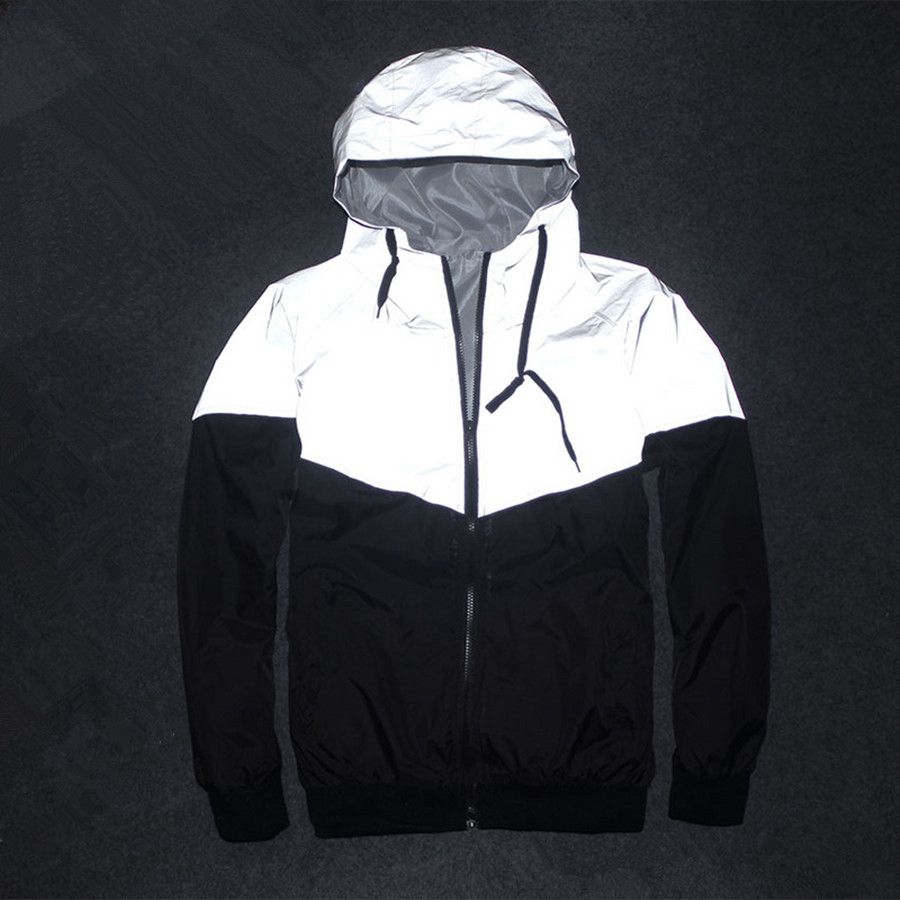 Sponge mice Drop Shipping Men Jacket Autumn Patchwork Reflective 3m Jacket Hip Hop Waterproof Windbreaker Men Coat