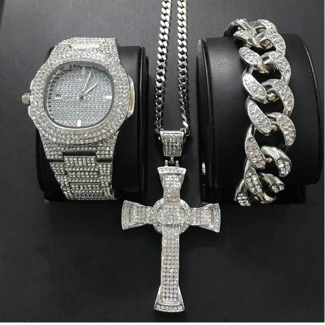 Reloj de lujo para hombre, pulsera y collar, Color dorado y plateado, Hip Hop, conjunto combinado, cubano, Hip Hop 1