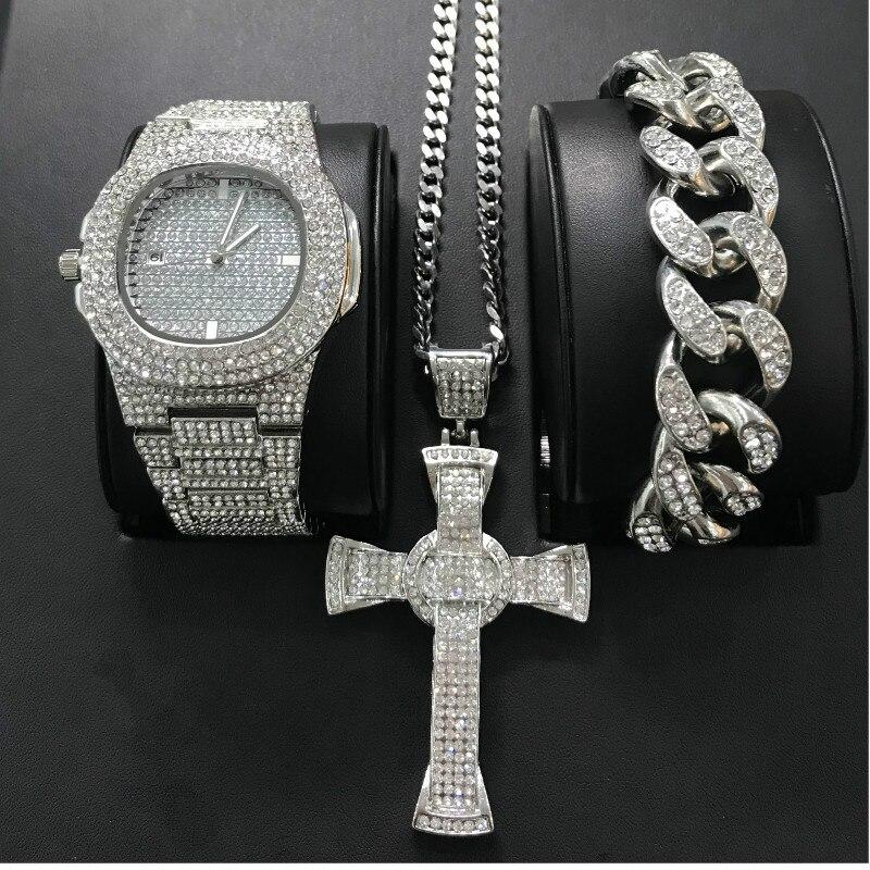 Luxury Men Diamond Watch Hip Hop Cross Jewelry Watch & Bracelet&Necklace Combo Set Watch Diamond Ice Out Cuban Watch Set For Men
