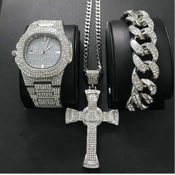 Luxury Men Gold Silver Color Watch Hip Hop Men Watch & Bracelet & Necklace Combo Set Ice Out Cuban Watch Hip Hop For Men